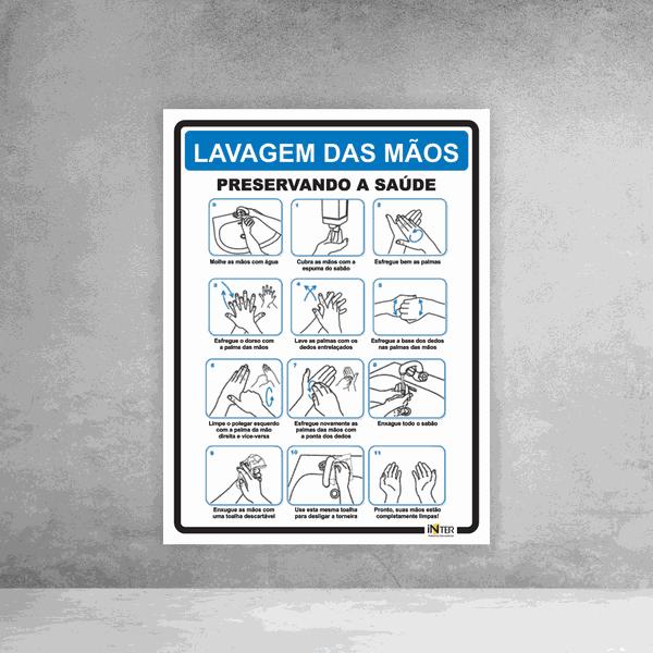 Placa de Sinalização - Lavagem das Mãos