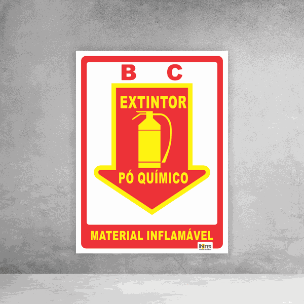 Placa de Sinalização - Extintor Pó Químico