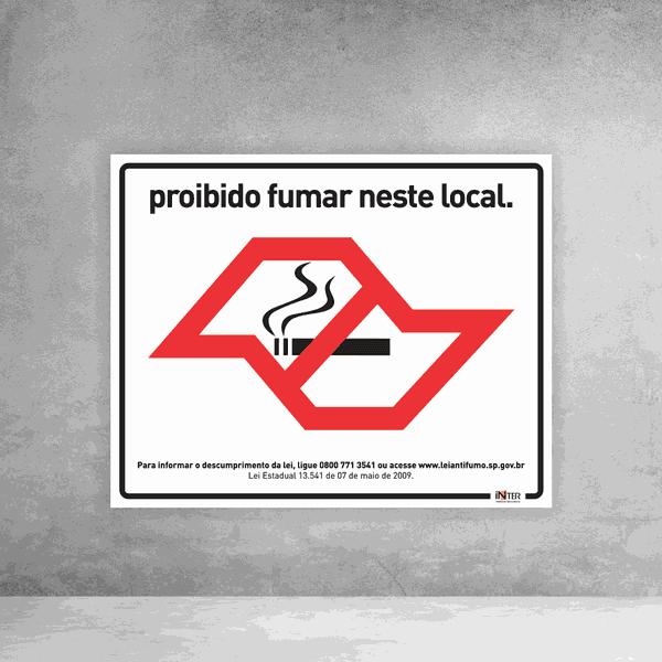 Placa de Sinalização - Proibido Fumar Neste Local SP