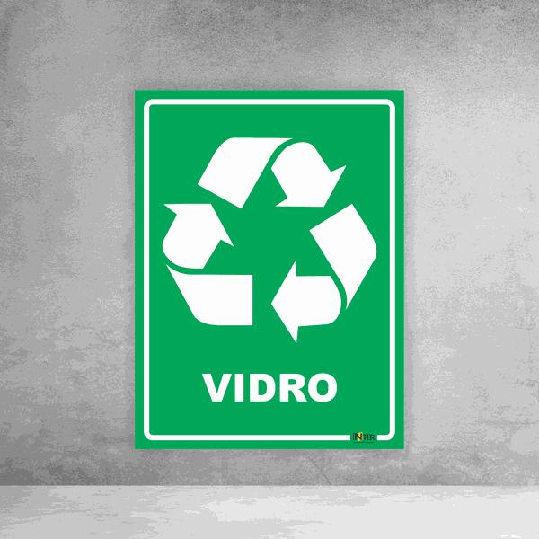 Placa de Sinalização - Reciclável Vidro