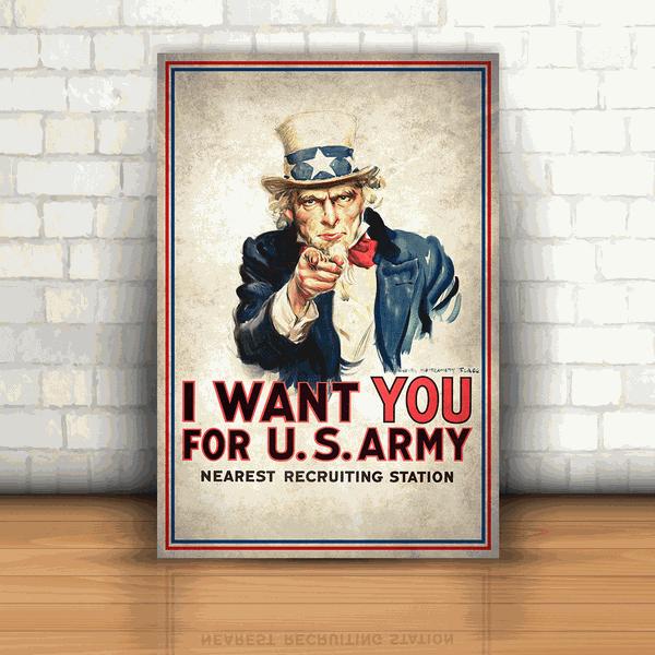 Placa Decorativa - I Want You Tio Sam