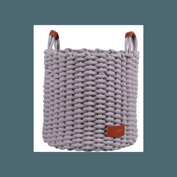 Cesto De Corda Algodão Cinza Com Alça De Couro 34cm