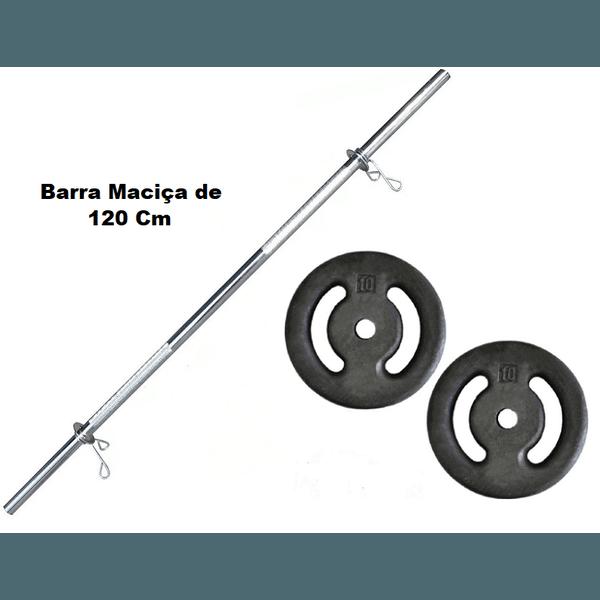 Kit Barra Maciça Recartilhada 120 Cm Com 20 Kg de Anilhas