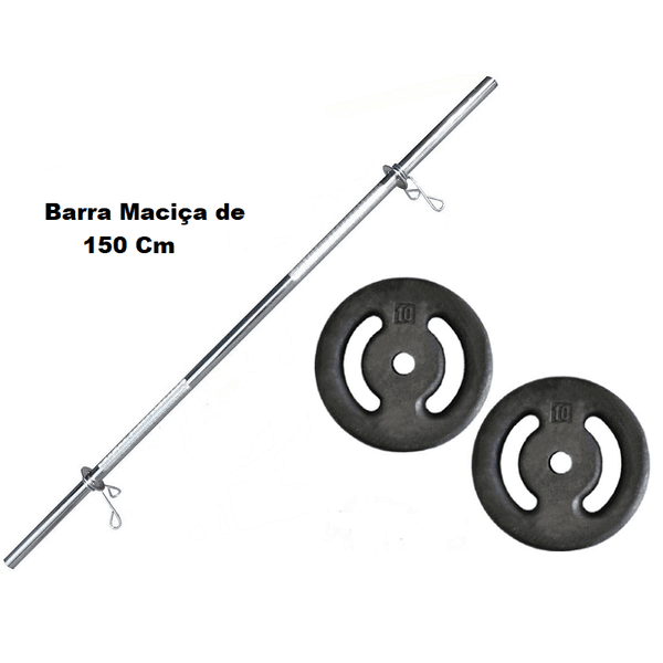 Kit Barra Maciça Recartilhada 150 Cm Com 20 Kg de Anilhas