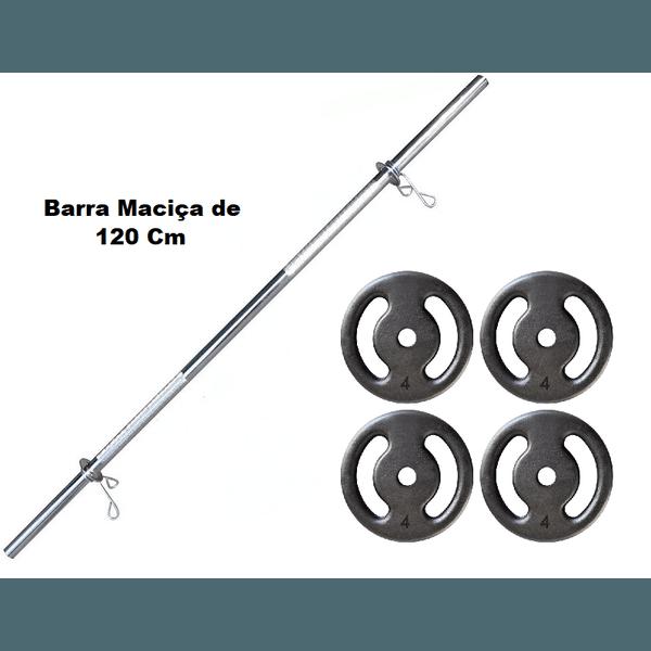 Kit Barra Maciça Recartilhada 120 Cm Com 16 Kg de Anilhas