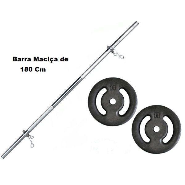 Kit Barra Maciça Recartilhada 180 Cm Com 20 Kg de Anilhas