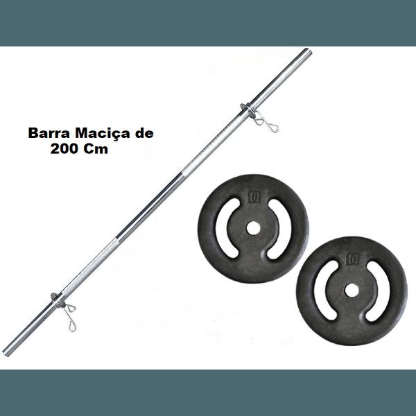 Kit Barra Maciça Recartilhada 200 Cm Com 20 Kg de Anilhas