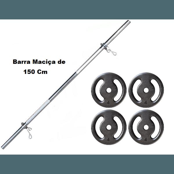 Kit Barra Maciça Recartilhada 150 Cm Com 16 Kg de Anilhas