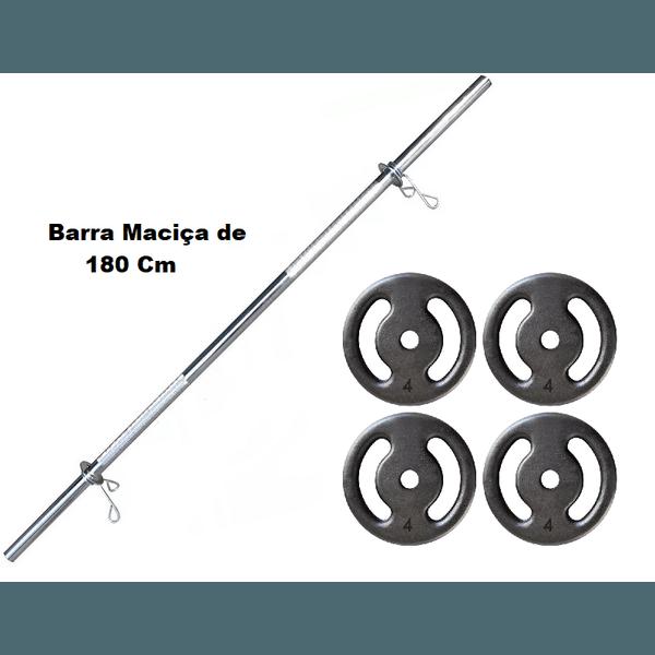 Kit Barra Maciça Recartilhada 180 Cm Com 16 Kg de Anilhas