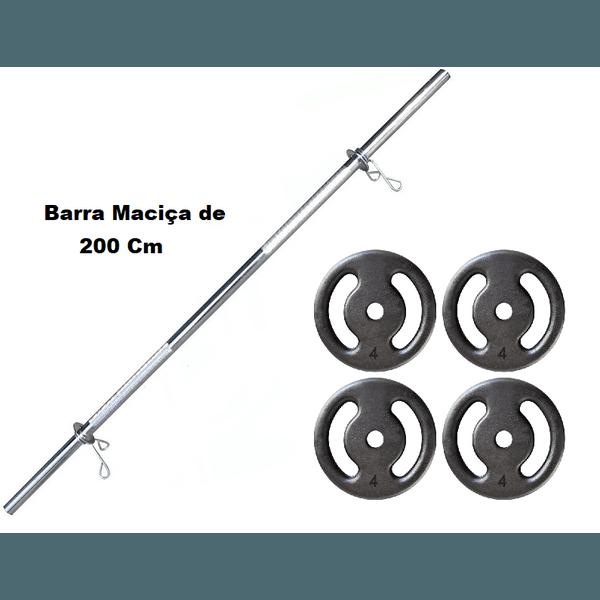 Kit Barra Maciça Recartilhada 200 Cm Com 16 Kg de Anilhas