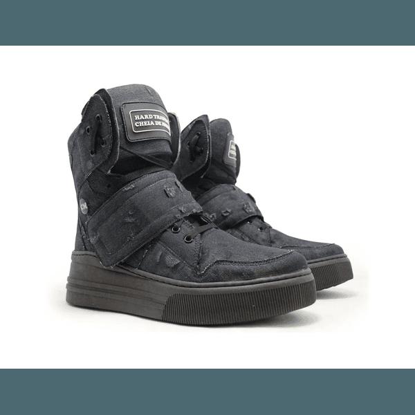 Sneaker Para Academia Jeans Destroyed Preto