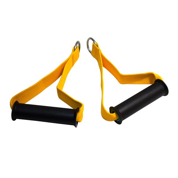 Par Puxadores Estribo Nylon Profissional Amarelo