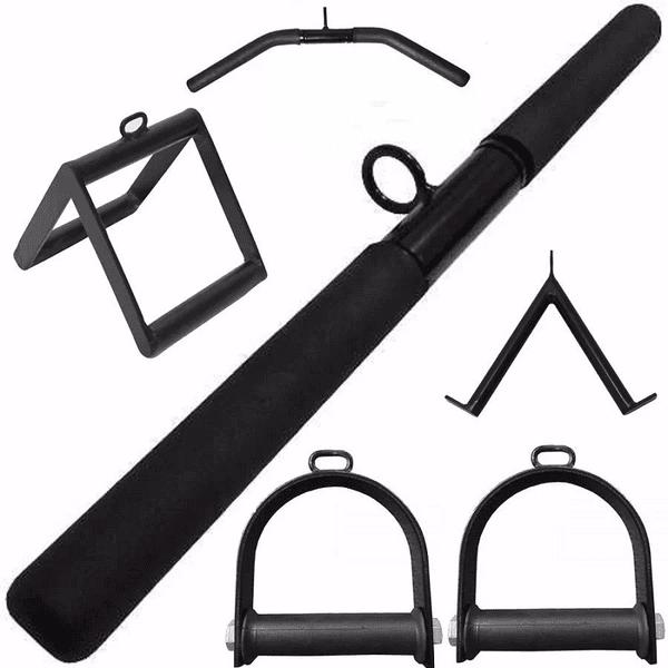 Kit Puxadores Musculação Kit Reto Triangulo Estribo Curvo e V - Preto