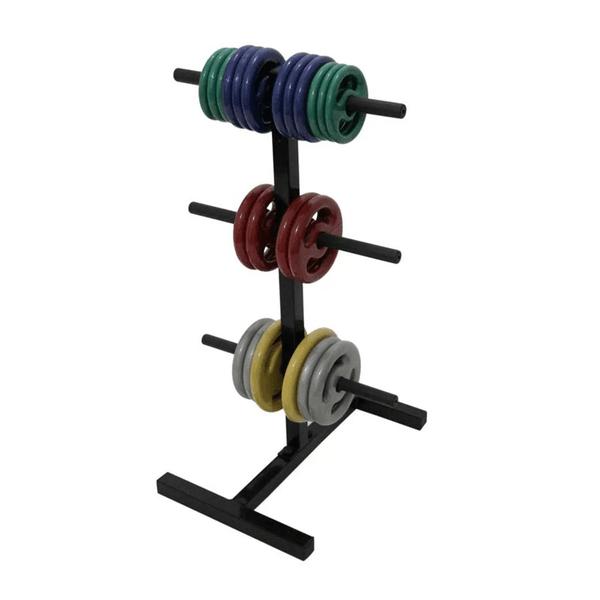 Suporte Expositor Torre KL Master Fitness Até 300 Kg Em Anilhas Musculação - Preto
