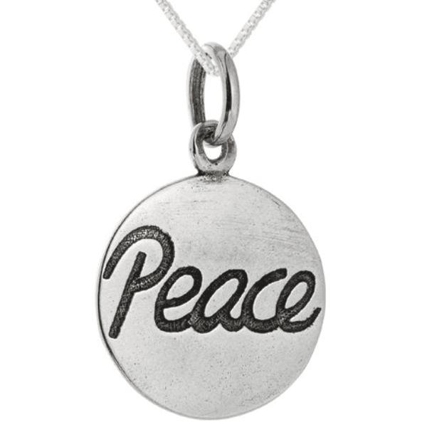 Pingente Escrito Peace em Prata 925