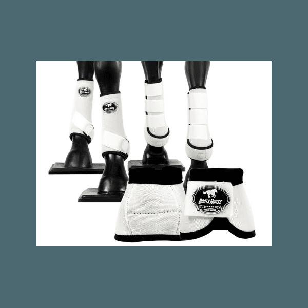 Kit Completo Cloche e Caneleiras Color Branco Boots Horse 4379