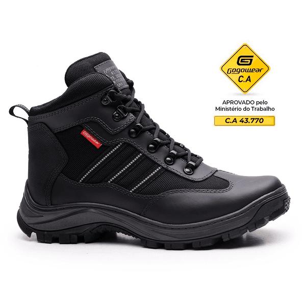 Bota Segurança Adventure EPI CA Gogowear 100% Couro ref Fall cor Preto