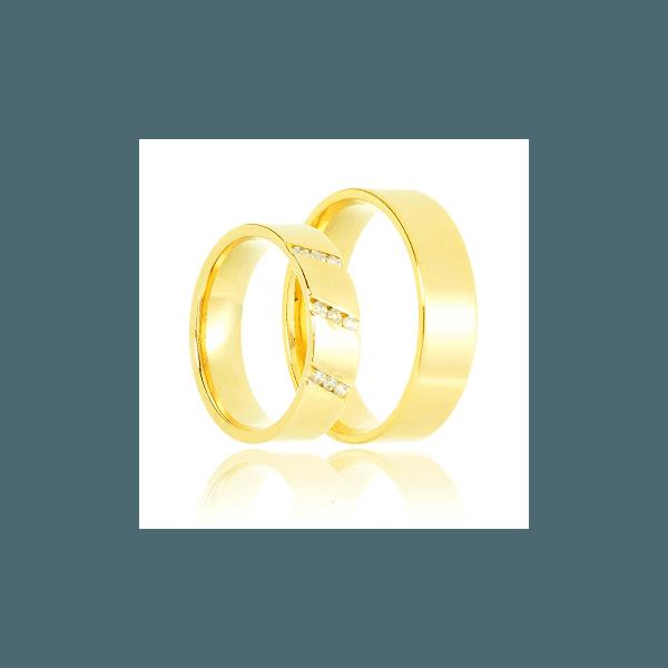 Aliança de ouro 18k com brilhante