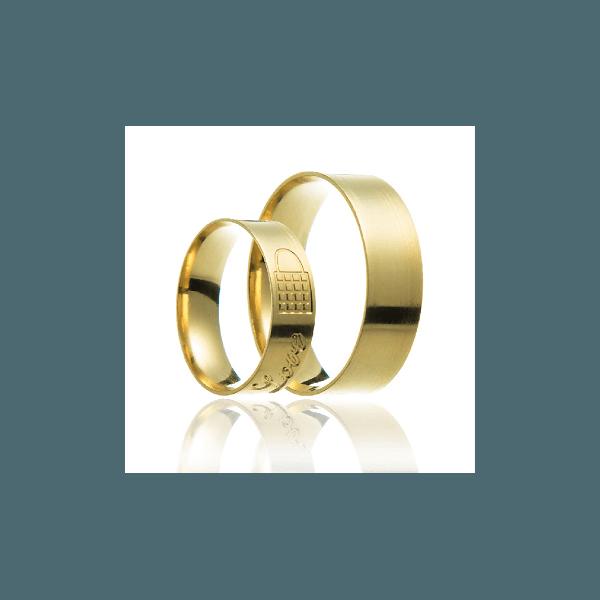 Aliança de ouro 18k com escrita