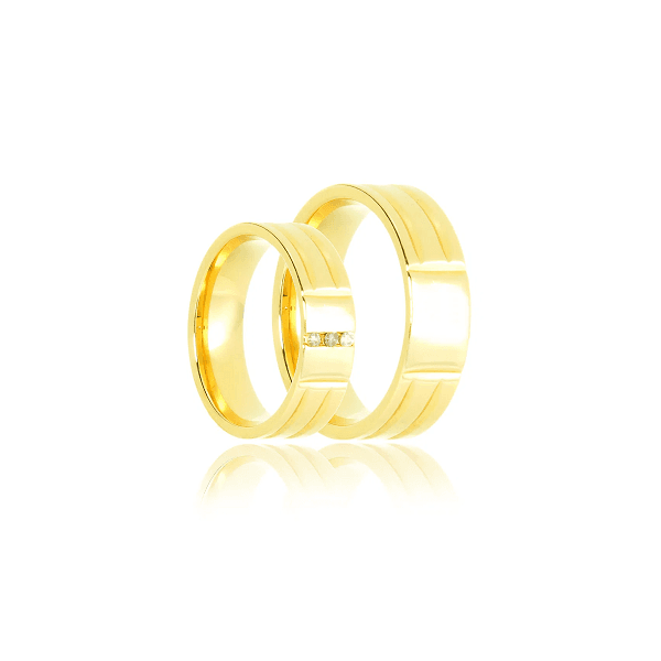 Aliança de ouro com brilhantes