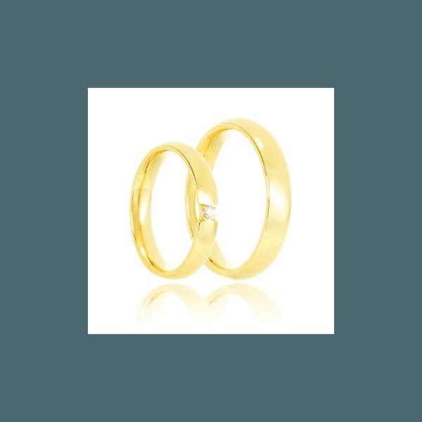 Aliança de ouro com diamante de 11 pontos