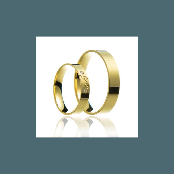Aliança de ouro com inicial