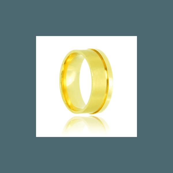 Aliança de Ouro fosca com bordas polidas