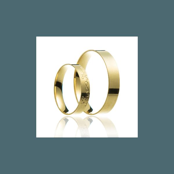 Aliança de ouro reta com gravação