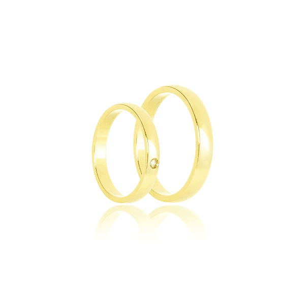 Aliança de ouro tradicional com diamante