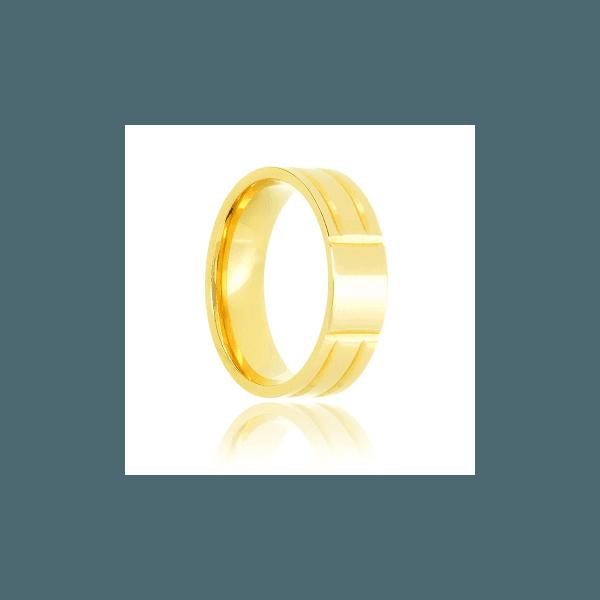 Aliança lisa de ouro com frisos