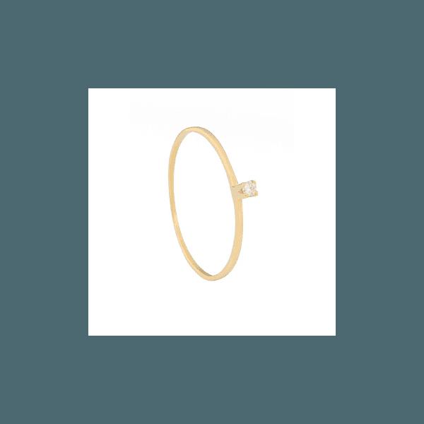 Solitário de Ouro com Zircônia de 2 pts