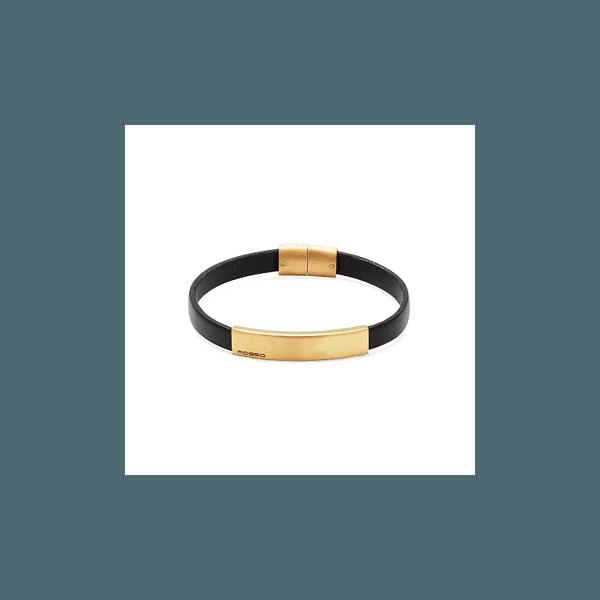 Bracelete de Couro Preto com Detalhe Dourado