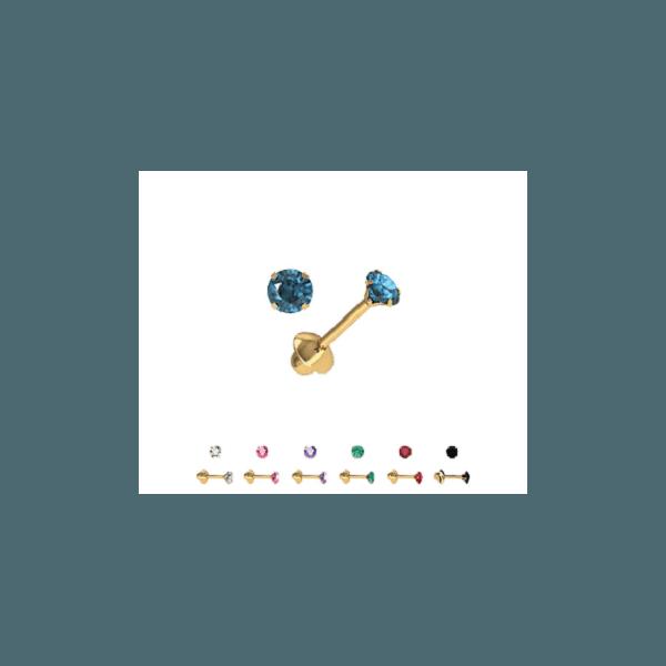 Brinco baby de ouro com pedra azul