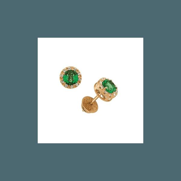Brinco de Ouro com Zircônia Verde