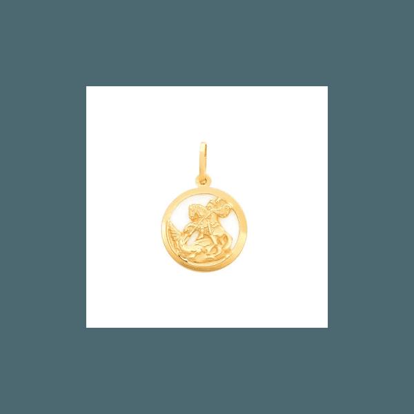 Pingente em Ouro 18k Medalha de São Jorge