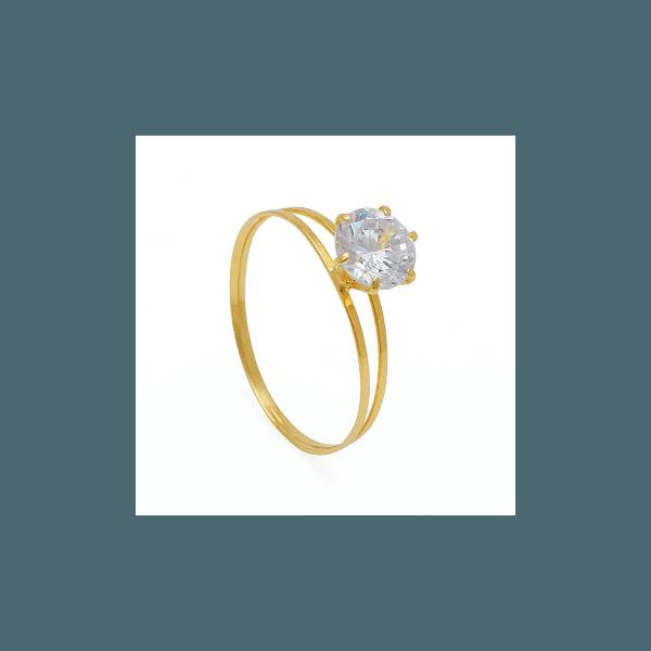 Solitário de Ouro com Zircônia Branca