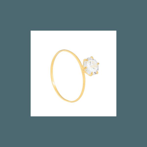 Solitário de Ouro com Zircônia Central