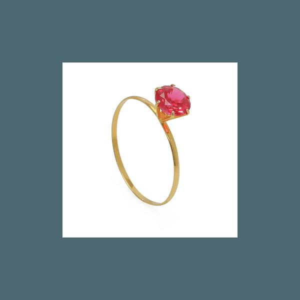 Solitário de Ouro com Zircônia Pink