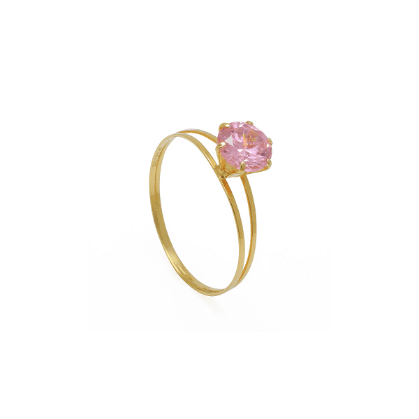 Solitário de Ouro com Zircônia Rosa