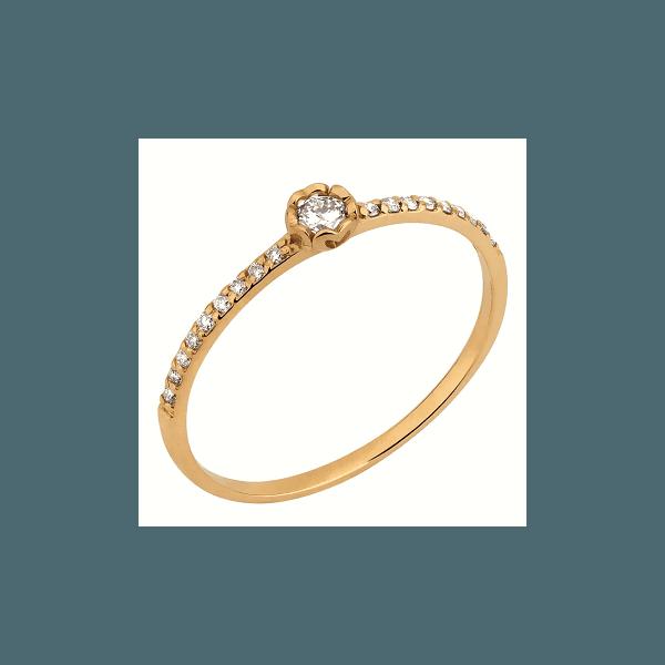 Solitário em Ouro Formato de Flor