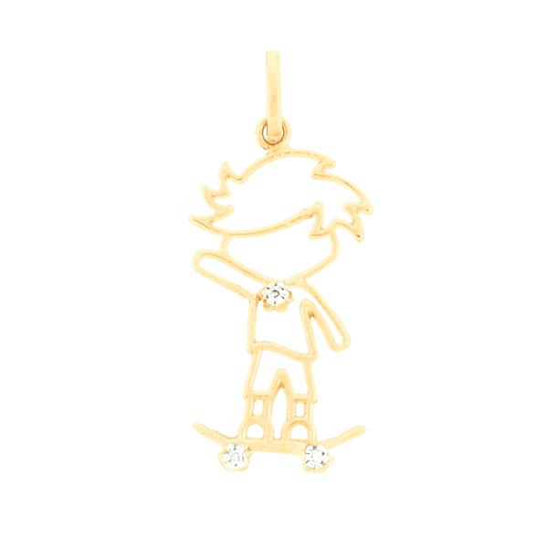 Pingente Filho Menino com Skate em Ouro 18K