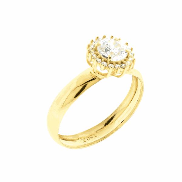 Anel de Ouro 18K Chuveiro com Pedras Sintéticas