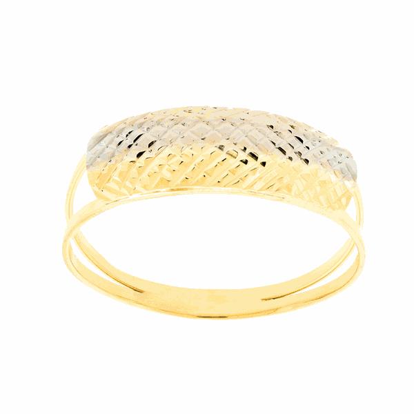 Anel de Ouro 18K Chapa Tricolor com Diamantado