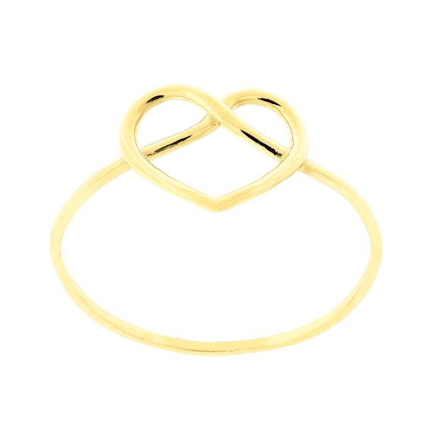 Anel de Ouro 18K Coração Fio Entrelaçado