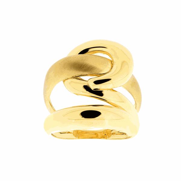 Anel de Ouro Amarelo 18K com Detalhe Fosco