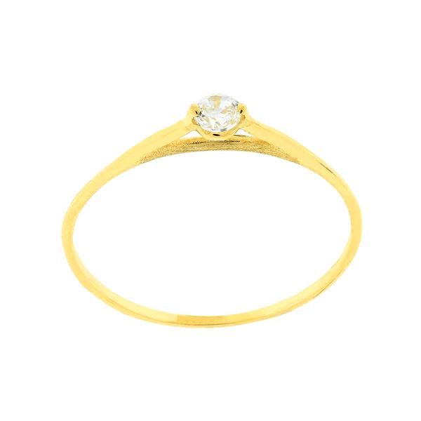 Anel Solitário com Pedra Sintética em Ouro Amarelo 18K