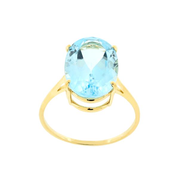 Anel de Ouro 18K com Pedra Natural de Topázio Azul Sky Oval