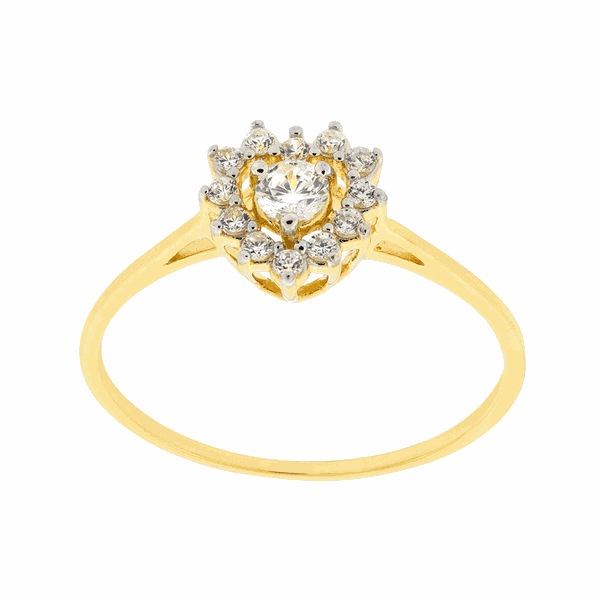 Anel de Ouro 18K com Cristal e Diamantes Formato Coração