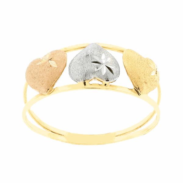 Anel de Ouro 18K Amarelo, Branco e Rosê Três Corações