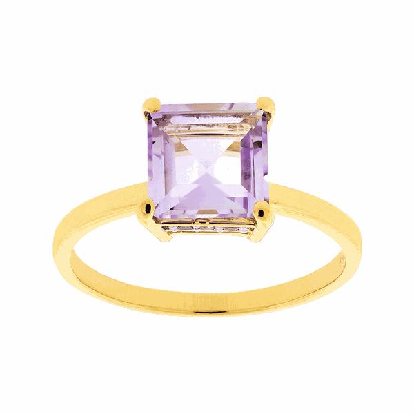 Anel Ouro 18K Pedra Ametista e Brilhantes